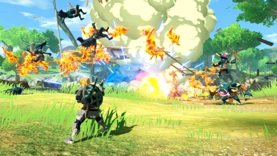 Link venciendo varios enemigos