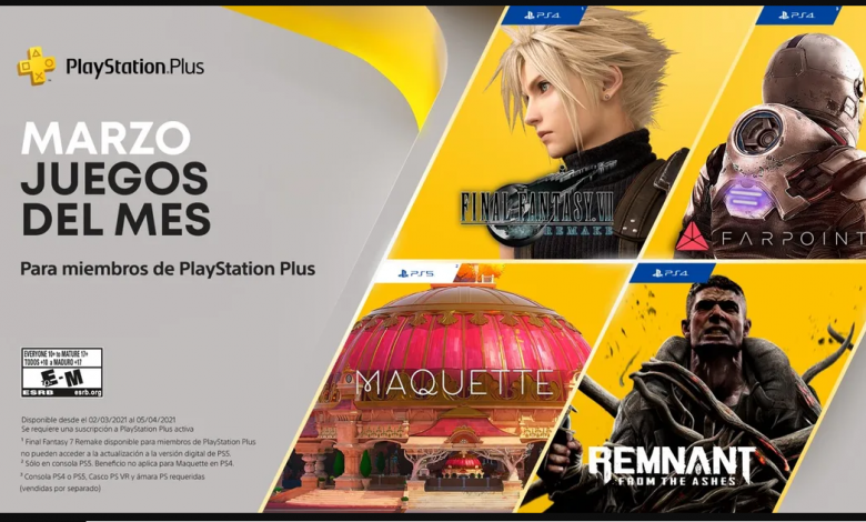 Juegos de PlayStation Plus para marzo: Final Fantasy VII Remake y más