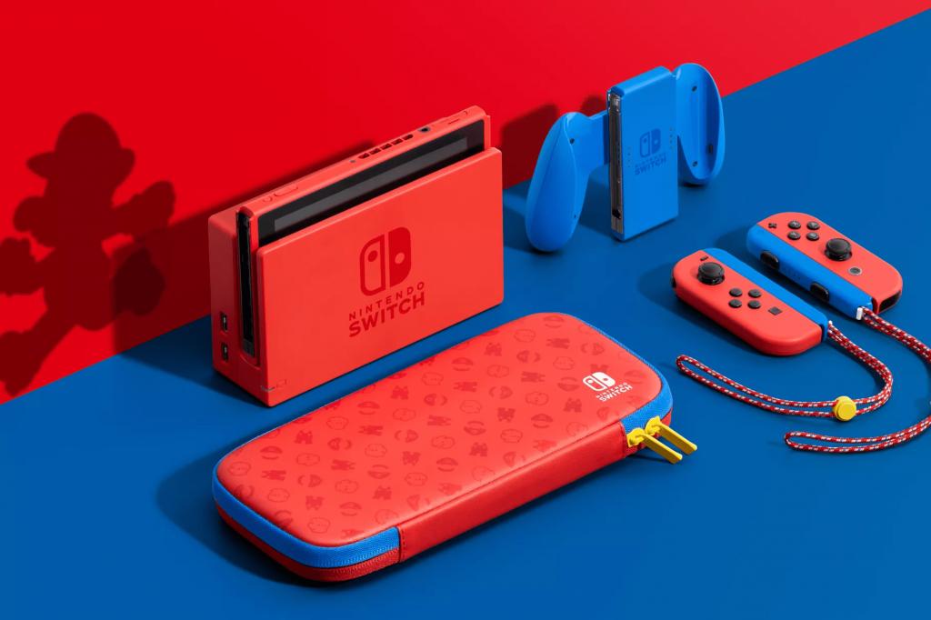 Nintendo Switch con tematica de Mario Bros